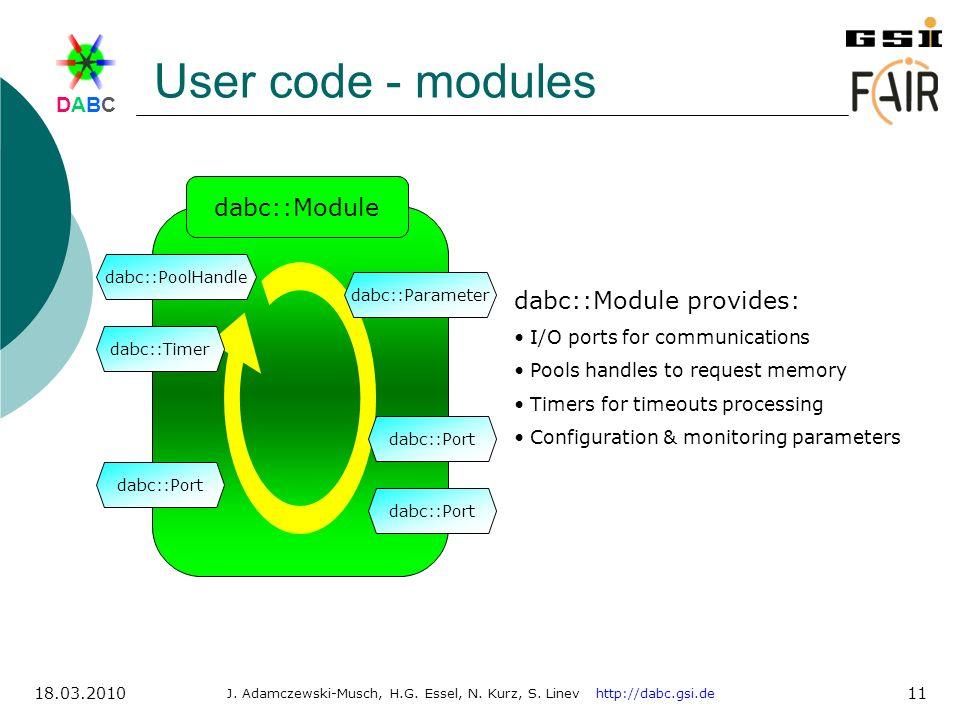 DABCDABC J. Adamczewski-Musch, H.G. Essel, N. Kurz, S. Linev http://dabc.gsi.de 18.03.2010 11 User code - modules dabc::Module dabc::PoolHandle dabc::