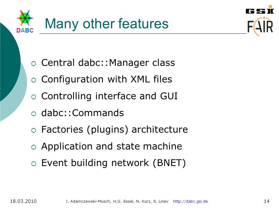 DABCDABC J. Adamczewski-Musch, H.G. Essel, N. Kurz, S. Linev http://dabc.gsi.de 18.03.2010 14 Many other features Central dabc::Manager class Configur