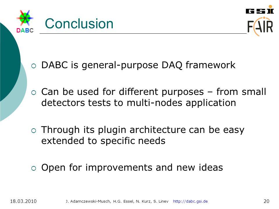 DABCDABC J. Adamczewski-Musch, H.G. Essel, N. Kurz, S. Linev http://dabc.gsi.de 18.03.2010 20 Conclusion DABC is general-purpose DAQ framework Can be