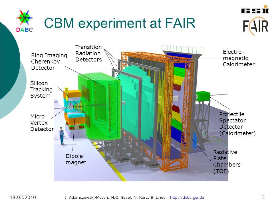DABCDABC J. Adamczewski-Musch, H.G. Essel, N. Kurz, S. Linev http://dabc.gsi.de 18.03.2010 3 CBM experiment at FAIR Dipole magnet Ring Imaging Cherenk