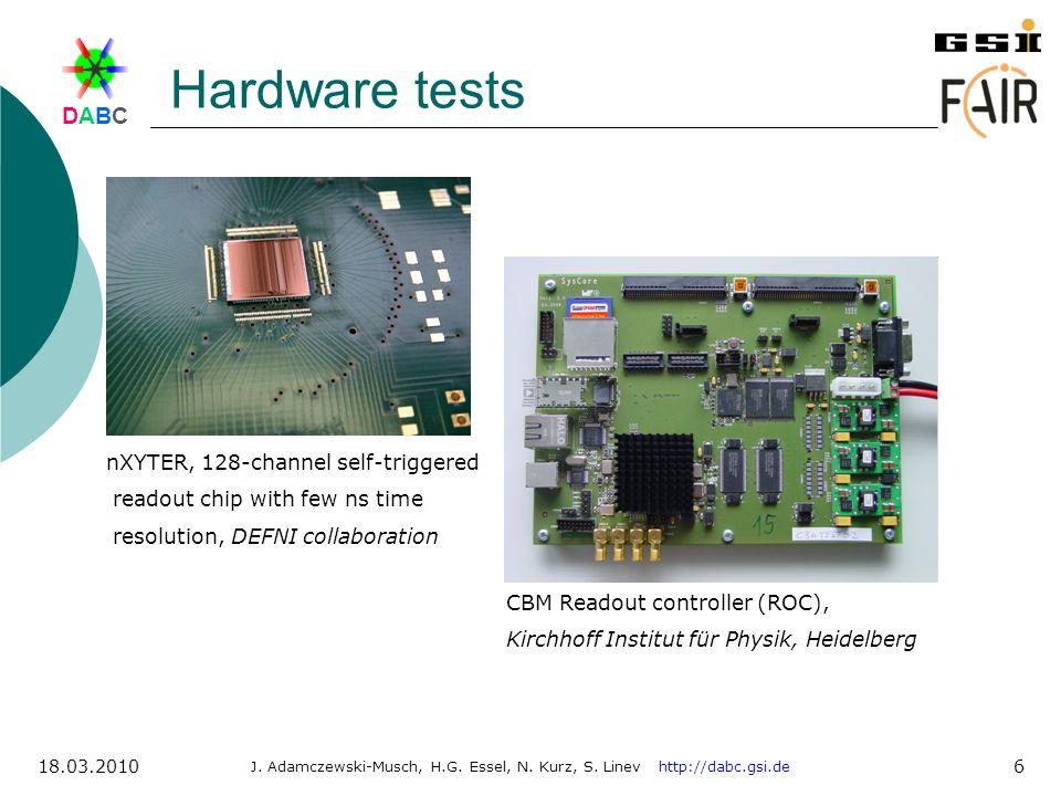 DABCDABC J. Adamczewski-Musch, H.G. Essel, N. Kurz, S. Linev http://dabc.gsi.de 18.03.2010 6 Hardware tests nXYTER, 128-channel self-triggered readout