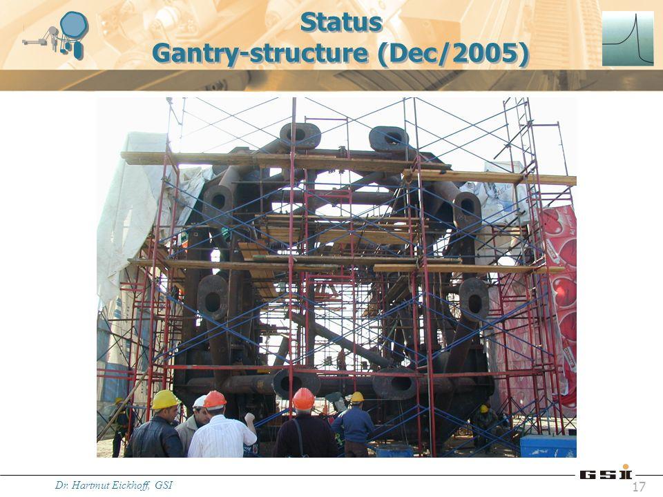 Dr. Hartmut Eickhoff, GSI 17 Status Gantry-structure (Dec/2005)