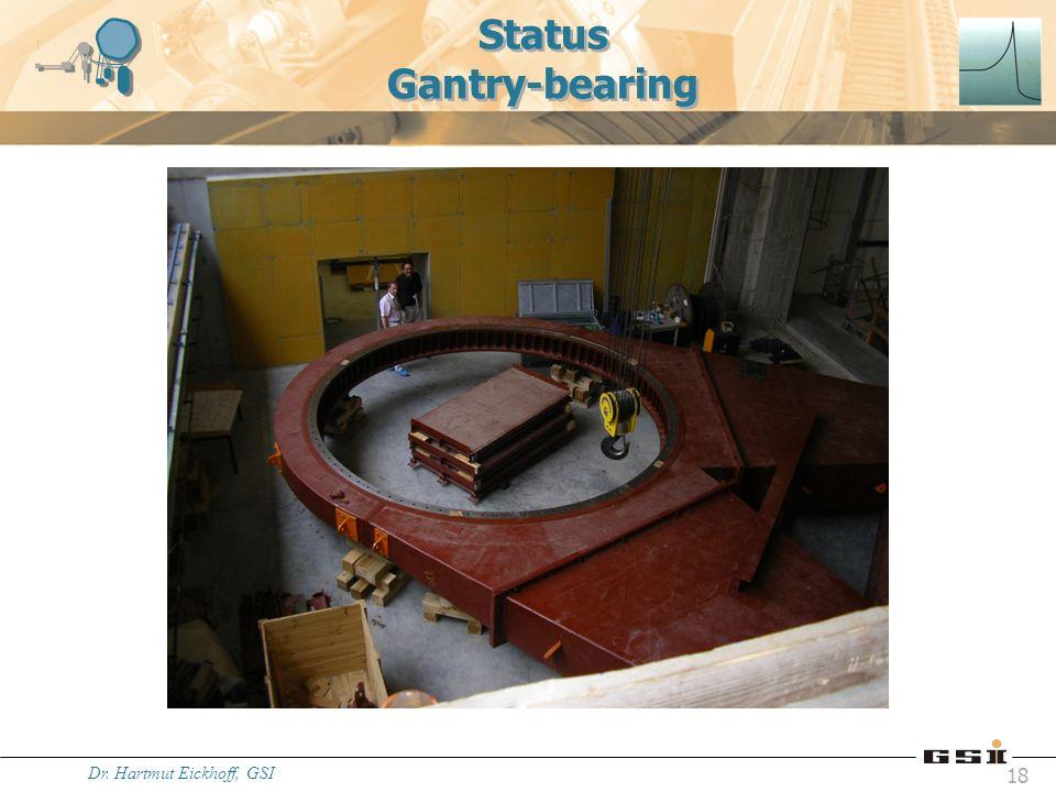 Dr. Hartmut Eickhoff, GSI 18 Status Gantry-bearing