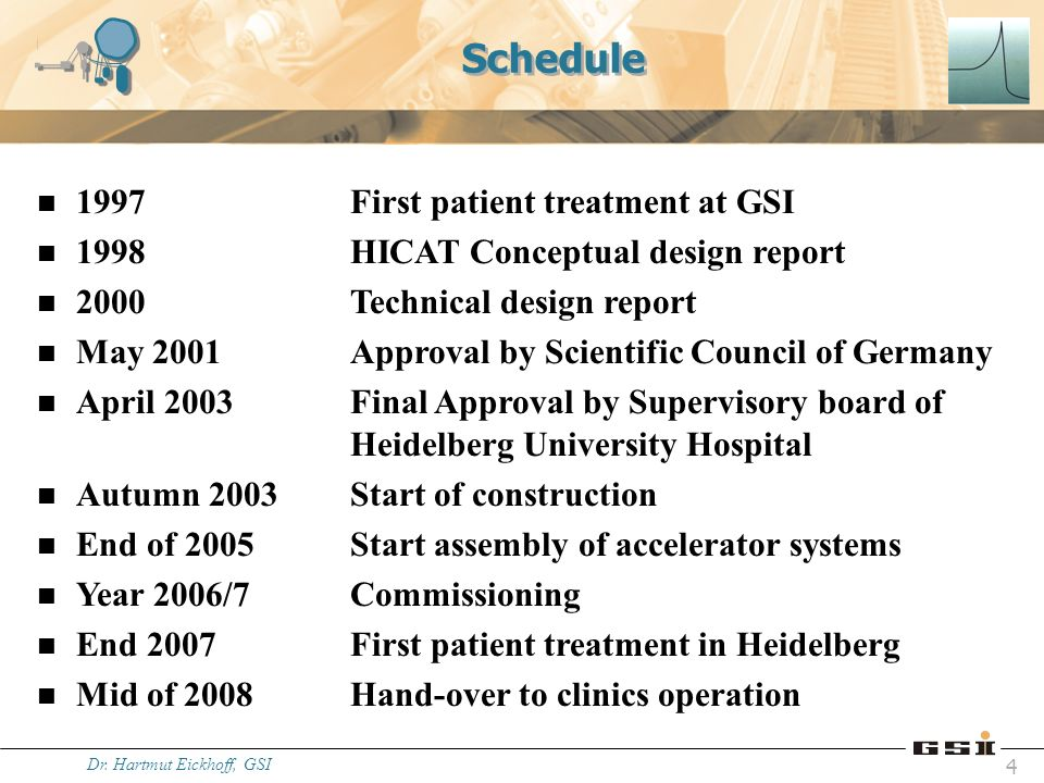 Dr. Hartmut Eickhoff, GSI 4 Schedule n 1997First patient treatment at GSI n 1998HICAT Conceptual design report n 2000Technical design report n May 200