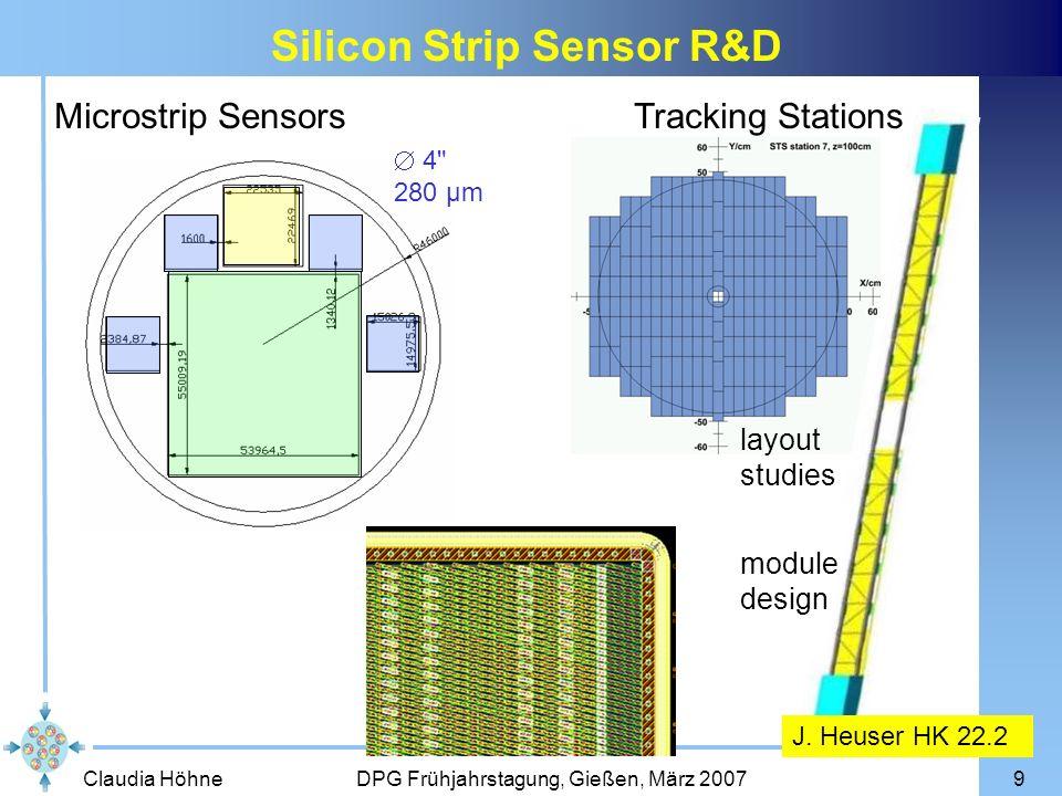 Claudia Höhne DPG Frühjahrstagung, Gießen, März 20079 4 280 µm Microstrip SensorsTracking Stations layout studies module design J.