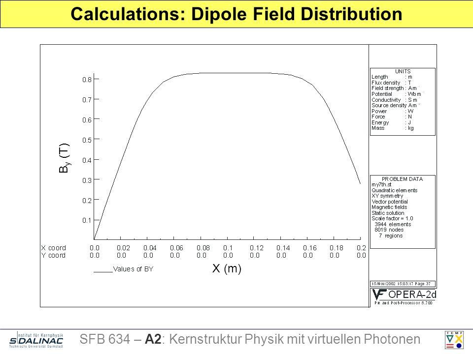 Calculations: Dipole Field Distribution B y (T) X (m) SFB 634 – A2: Kernstruktur Physik mit virtuellen Photonen
