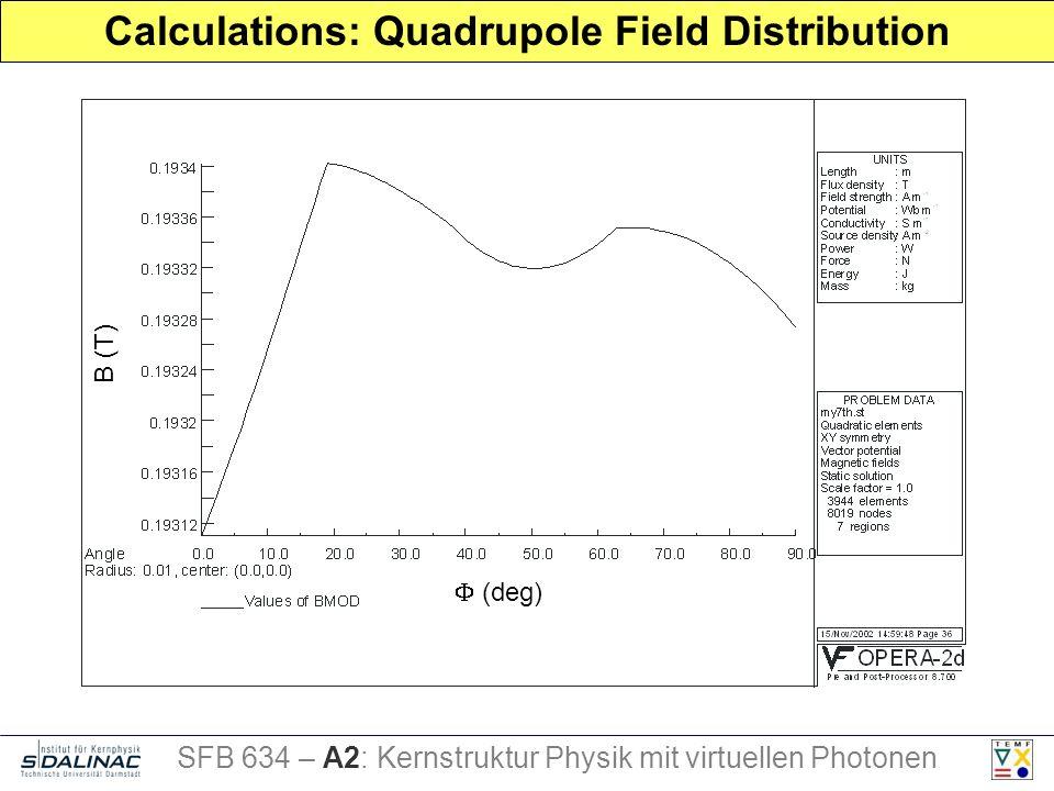 Calculations: Quadrupole Field Distribution B (T) (deg) SFB 634 – A2: Kernstruktur Physik mit virtuellen Photonen