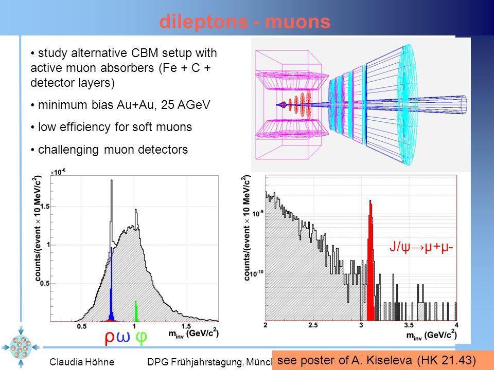 Claudia Höhne DPG Frühjahrstagung, München, März 200610 dileptons - muons study alternative CBM setup with active muon absorbers (Fe + C + detector la