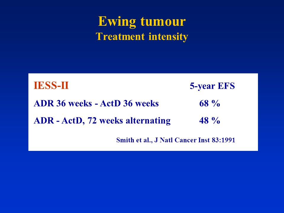 IESS-II 5-year EFS ADR 36 weeks - ActD 36 weeks 68 % ADR - ActD, 72 weeks alternating 48 % Smith et al., J Natl Cancer Inst 83:1991 Ewing tumour Treat