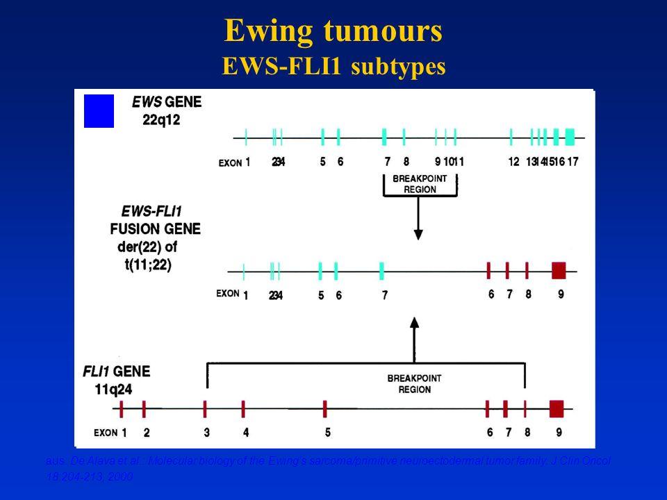 aus: De Alava et al.: Molecular biology of the Ewing's sarcoma/primitive neuroectodermal tumor family. J Clin Oncol 18:204-213, 2000 Ewing tumours EWS