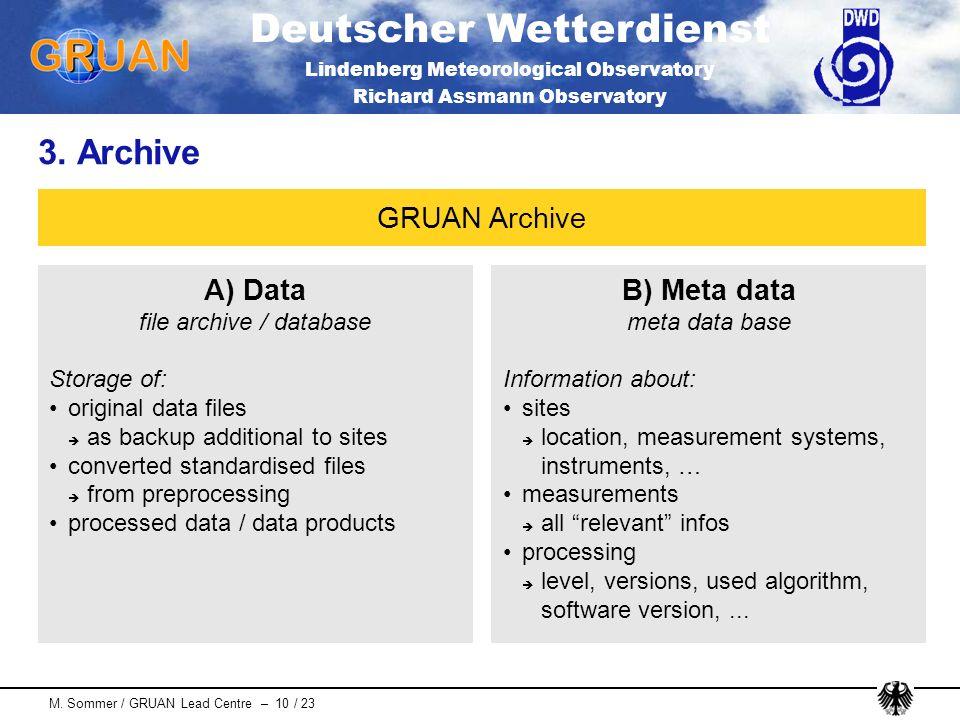 Deutscher Wetterdienst Lindenberg Meteorological Observatory Richard Assmann Observatory M. Sommer / GRUAN Lead Centre – 10 / 23 3. Archive A) Data fi