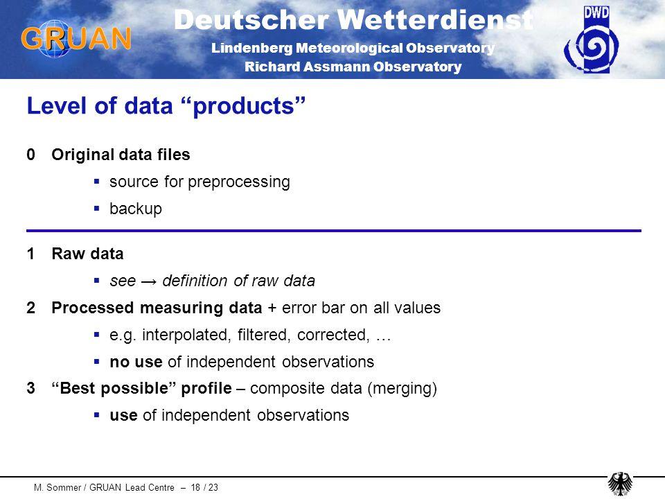 Deutscher Wetterdienst Lindenberg Meteorological Observatory Richard Assmann Observatory M. Sommer / GRUAN Lead Centre – 18 / 23 Level of data product