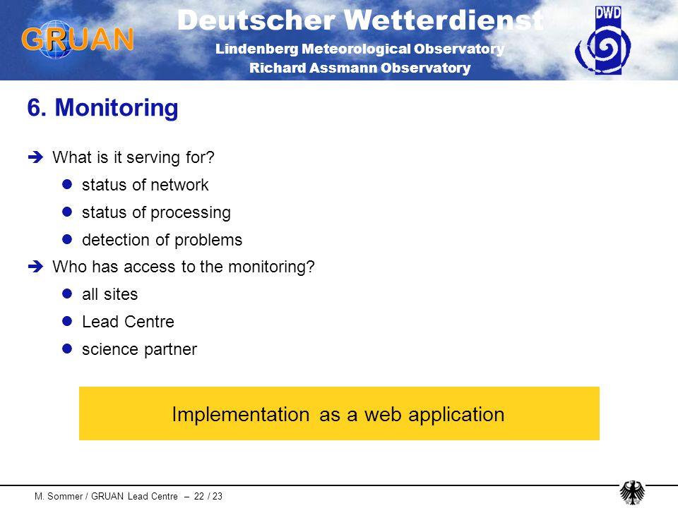 Deutscher Wetterdienst Lindenberg Meteorological Observatory Richard Assmann Observatory M. Sommer / GRUAN Lead Centre – 22 / 23 6. Monitoring What is