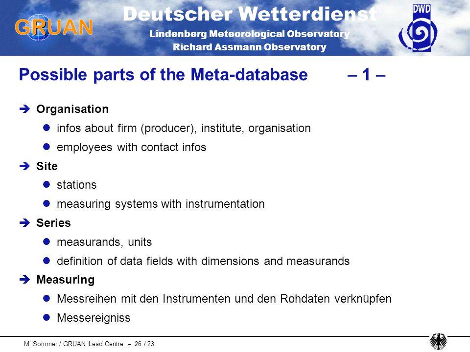 Deutscher Wetterdienst Lindenberg Meteorological Observatory Richard Assmann Observatory M. Sommer / GRUAN Lead Centre – 26 / 23 Possible parts of the