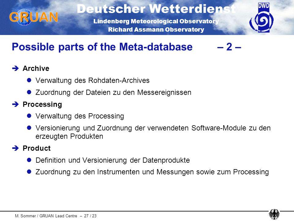 Deutscher Wetterdienst Lindenberg Meteorological Observatory Richard Assmann Observatory M. Sommer / GRUAN Lead Centre – 27 / 23 Possible parts of the