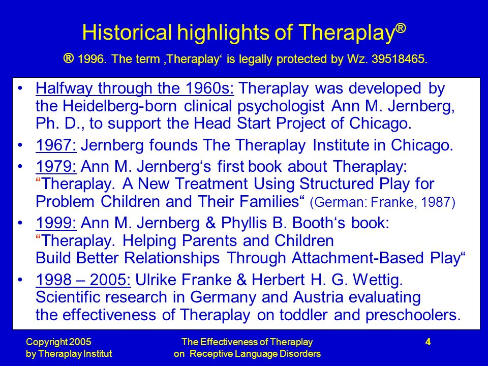 Copyright 2005 by Theraplay Institut The Effectiveness of Theraplay on Receptive Language Disorders 4 Historical highlights of Theraplay ® ® 1996.