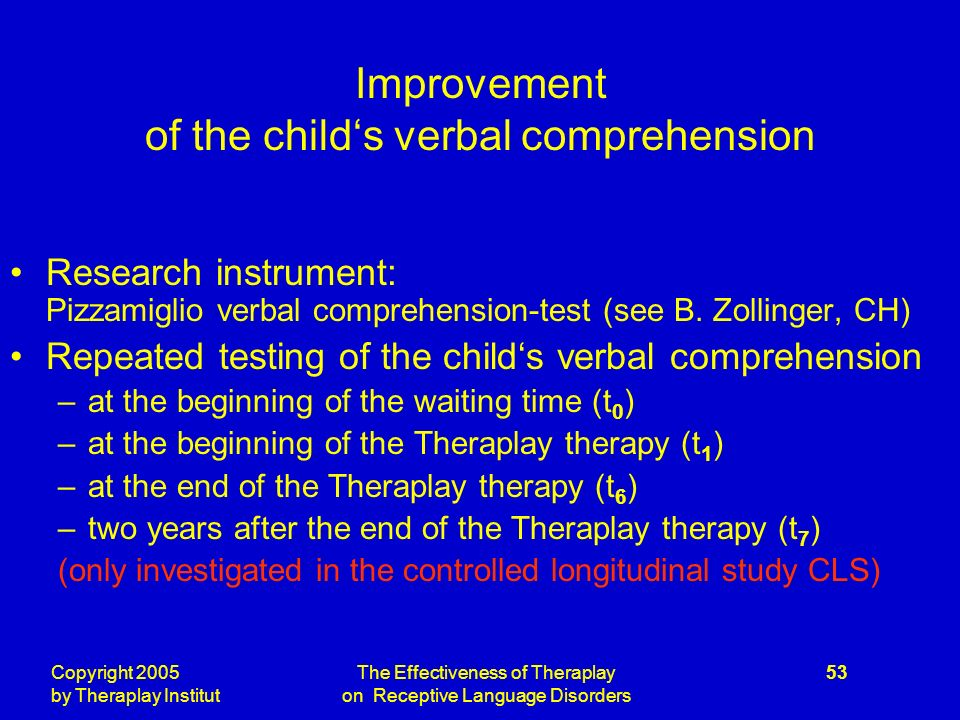 Copyright 2005 by Theraplay Institut The Effectiveness of Theraplay on Receptive Language Disorders 53 Improvement of the childs verbal comprehension Research instrument: Pizzamiglio verbal comprehension-test (see B.