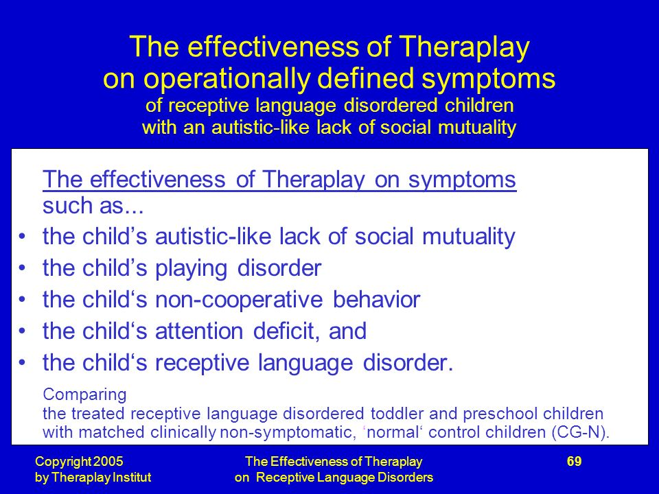 Copyright 2005 by Theraplay Institut The Effectiveness of Theraplay on Receptive Language Disorders 69 The effectiveness of Theraplay on operationally defined symptoms of receptive language disordered children with an autistic-like lack of social mutuality The effectiveness of Theraplay on symptoms such as...
