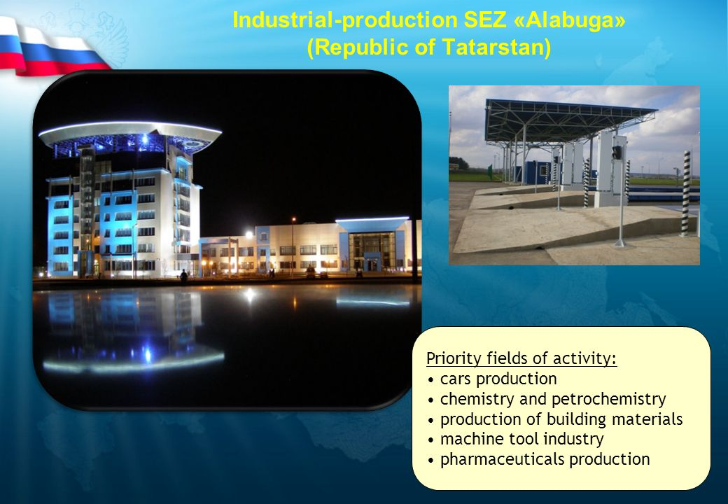 Industrial-production SEZ «Alabuga» (Republic of Tatarstan) Priority fields of activity: cars production chemistry and petrochemistry production of bu