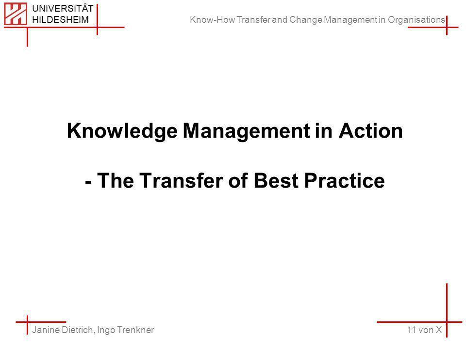 Know-How Transfer and Change Management in Organisations 11 von X Janine Dietrich, Ingo Trenkner UNIVERSITÄT HILDESHEIM Knowledge Management in Action - The Transfer of Best Practice