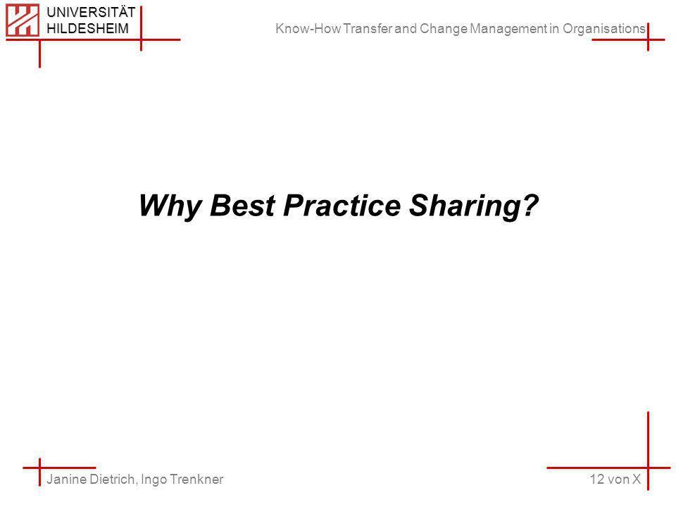 Know-How Transfer and Change Management in Organisations 12 von X Janine Dietrich, Ingo Trenkner UNIVERSITÄT HILDESHEIM Why Best Practice Sharing
