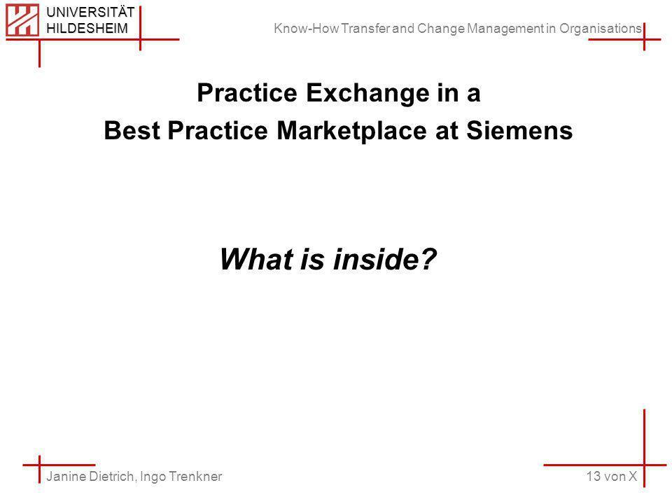 Know-How Transfer and Change Management in Organisations 13 von X Janine Dietrich, Ingo Trenkner UNIVERSITÄT HILDESHEIM Practice Exchange in a Best Practice Marketplace at Siemens What is inside
