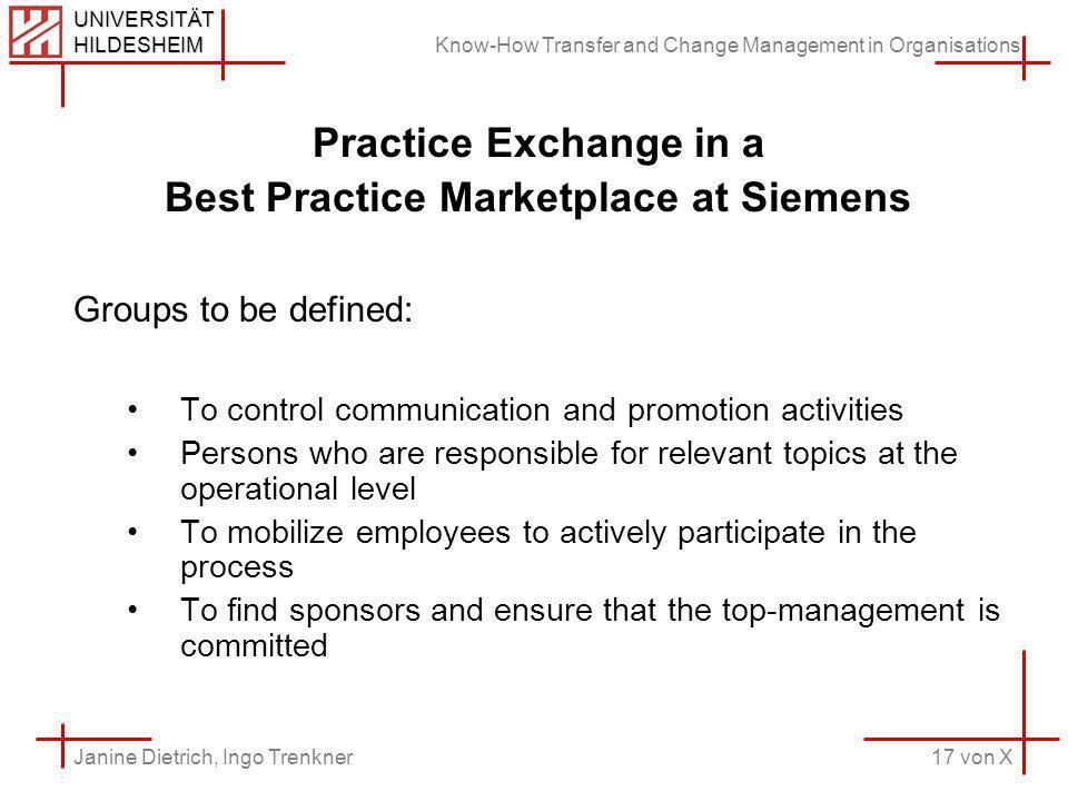Know-How Transfer and Change Management in Organisations 17 von X Janine Dietrich, Ingo Trenkner UNIVERSITÄT HILDESHEIM Practice Exchange in a Best Pr