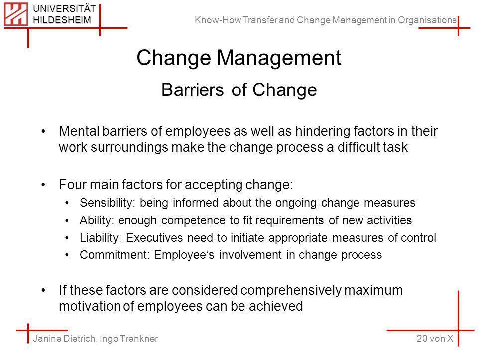 Know-How Transfer and Change Management in Organisations 20 von X Janine Dietrich, Ingo Trenkner UNIVERSITÄT HILDESHEIM Change Management Barriers of
