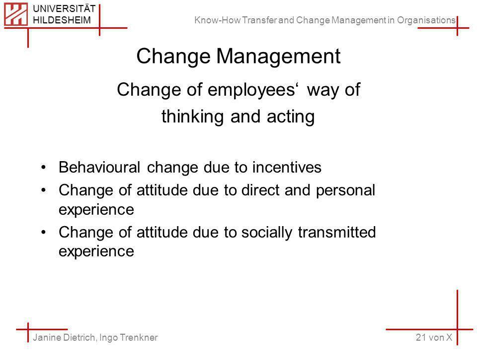 Know-How Transfer and Change Management in Organisations 21 von X Janine Dietrich, Ingo Trenkner UNIVERSITÄT HILDESHEIM Change Management Change of em