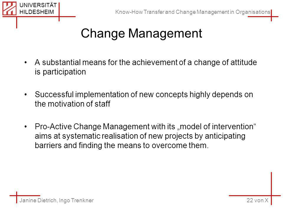 Know-How Transfer and Change Management in Organisations 22 von X Janine Dietrich, Ingo Trenkner UNIVERSITÄT HILDESHEIM Change Management A substantial means for the achievement of a change of attitude is participation Successful implementation of new concepts highly depends on the motivation of staff Pro-Active Change Management with its model of intervention aims at systematic realisation of new projects by anticipating barriers and finding the means to overcome them.