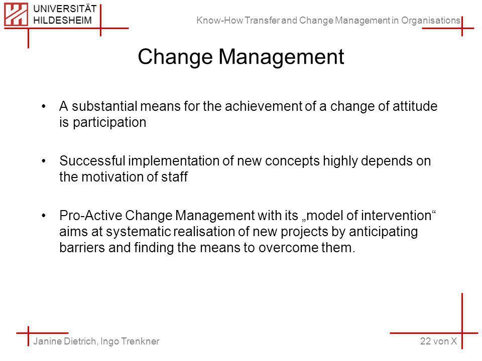 Know-How Transfer and Change Management in Organisations 22 von X Janine Dietrich, Ingo Trenkner UNIVERSITÄT HILDESHEIM Change Management A substantia