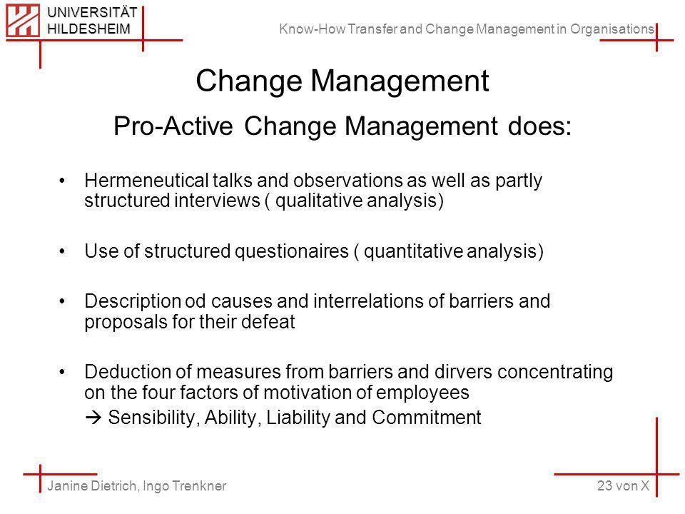 Know-How Transfer and Change Management in Organisations 23 von X Janine Dietrich, Ingo Trenkner UNIVERSITÄT HILDESHEIM Change Management Pro-Active C