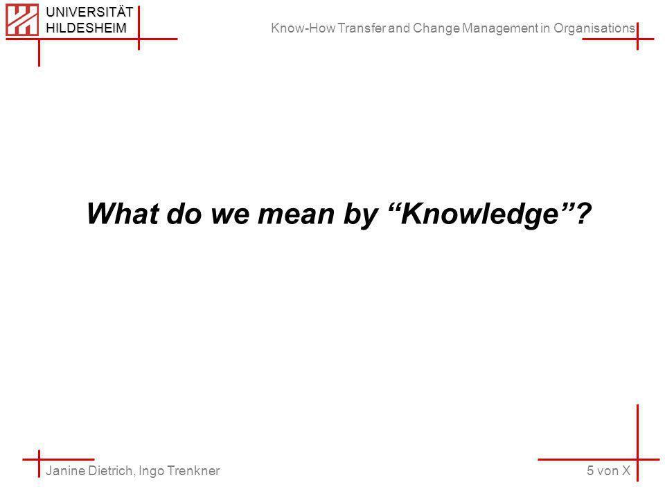 Know-How Transfer and Change Management in Organisations 5 von X Janine Dietrich, Ingo Trenkner UNIVERSITÄT HILDESHEIM What do we mean by Knowledge