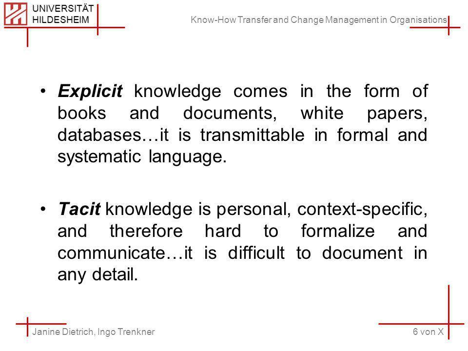 Know-How Transfer and Change Management in Organisations 6 von X Janine Dietrich, Ingo Trenkner UNIVERSITÄT HILDESHEIM Explicit knowledge comes in the