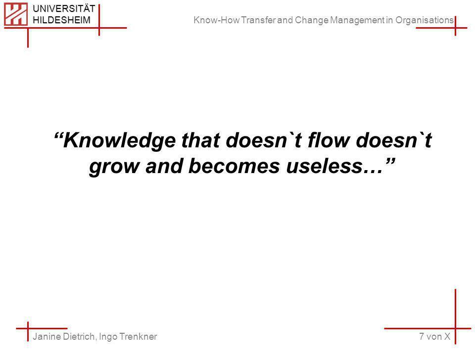 Know-How Transfer and Change Management in Organisations 7 von X Janine Dietrich, Ingo Trenkner UNIVERSITÄT HILDESHEIM Knowledge that doesn`t flow doe