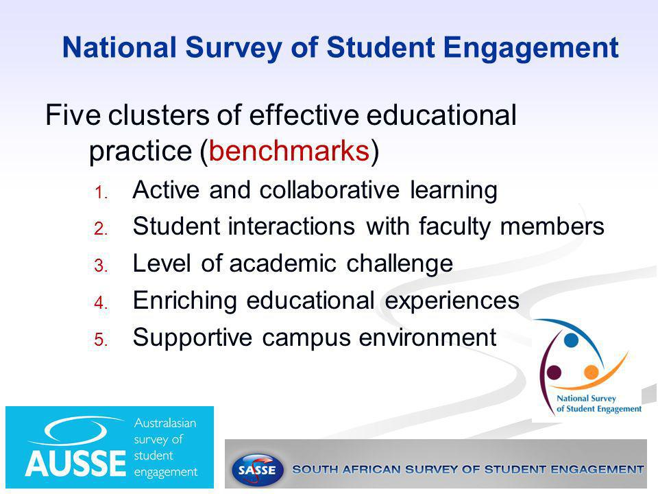 National Survey of Student Engagement Five clusters of effective educational practice (benchmarks) 1. 1. Active and collaborative learning 2. 2. Stude