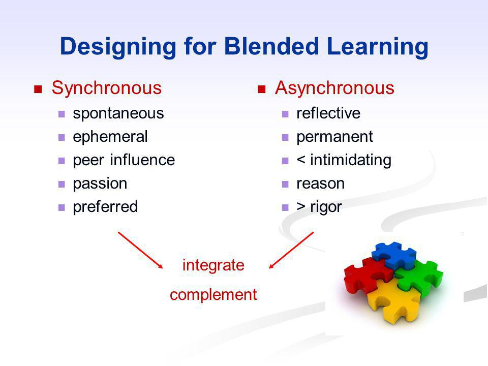 Designing for Blended Learning Synchronous spontaneous ephemeral peer influence passion preferred Asynchronous reflective permanent < intimidating rea