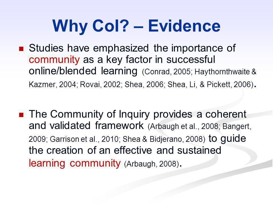 Why CoI? – Evidence Studies have emphasized the importance of community as a key factor in successful online/blended learning (Conrad, 2005; Haythornt