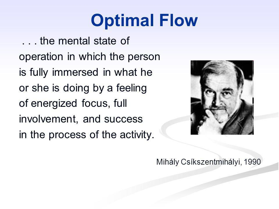Optimal Flow... the mental state of operation in which the person is fully immersed in what he or she is doing by a feeling of energized focus, full i
