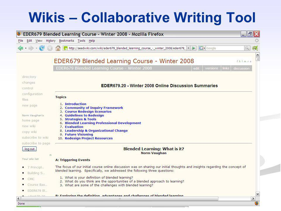 Wikis – Collaborative Writing Tool