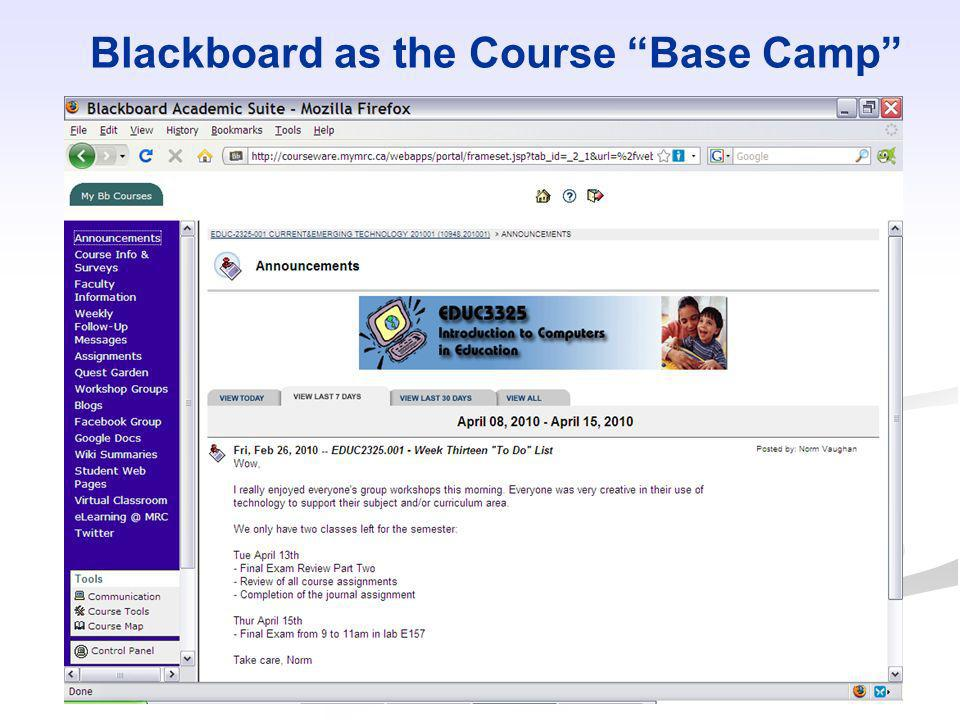 Blackboard as the Course Base Camp