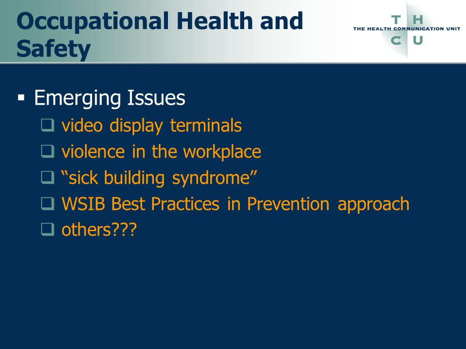 Occupational Health and Safety Emerging Issues video display terminals violence in the workplace sick building syndrome WSIB Best Practices in Prevent