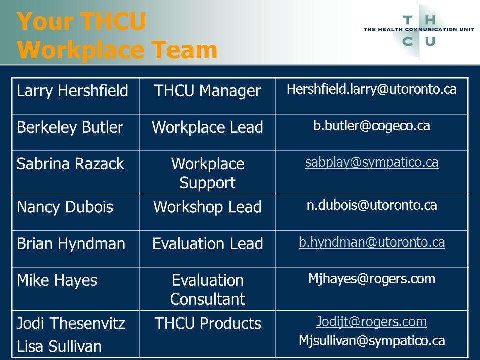 Your THCU Workplace Team Larry HershfieldTHCU Manager Hershfield.larry@utoronto.ca Berkeley ButlerWorkplace Lead b.butler@cogeco.ca Sabrina RazackWork