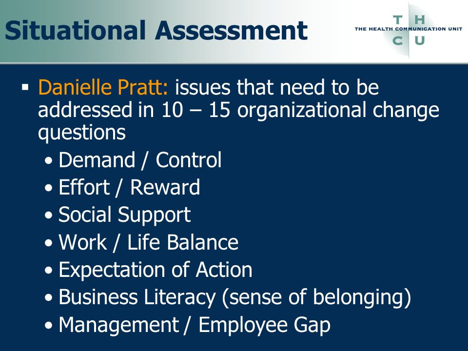 Situational Assessment Danielle Pratt: issues that need to be addressed in 10 – 15 organizational change questions Demand / Control Effort / Reward So