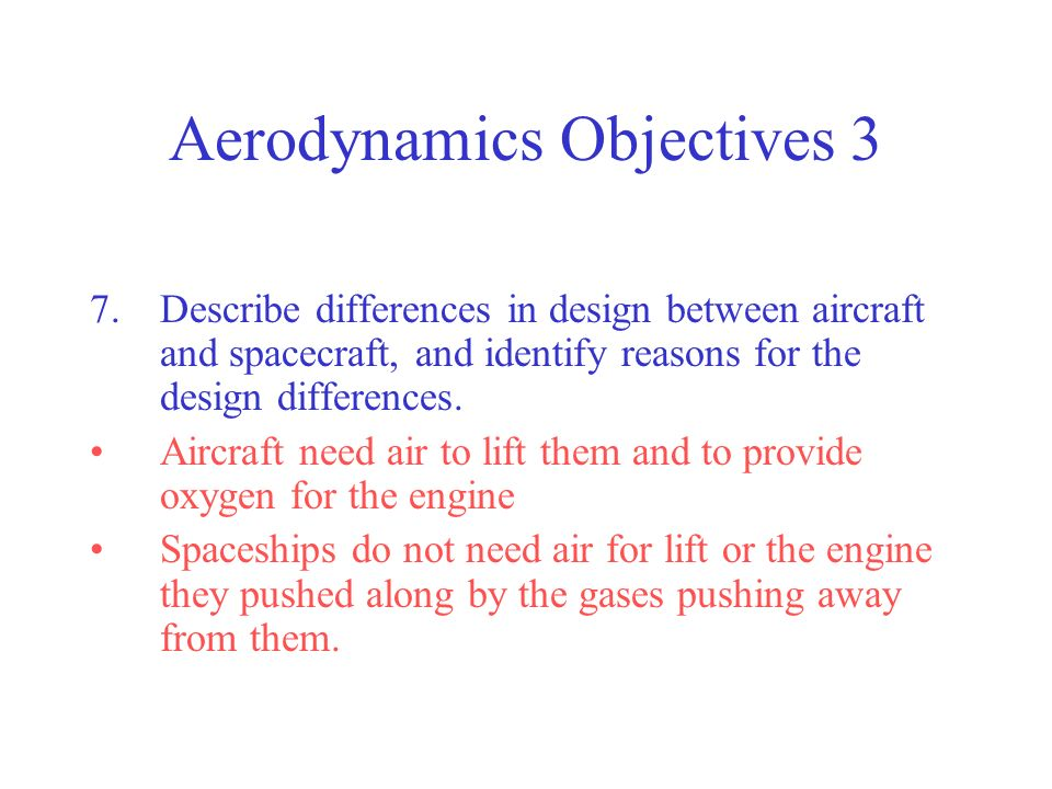 Aerodynamics Objectives 3 7.Describe differences in design between aircraft and spacecraft, and identify reasons for the design differences. Aircraft
