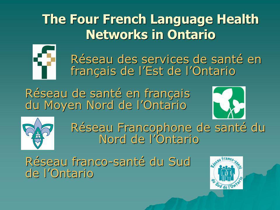 Réseau des services de santé en français de lEst de lOntario Réseau de santé en français du Moyen Nord de lOntario Réseau Francophone de santé du Nord de lOntario Réseau franco-santé du Sud de lOntario The Four French Language Health Networks in Ontario