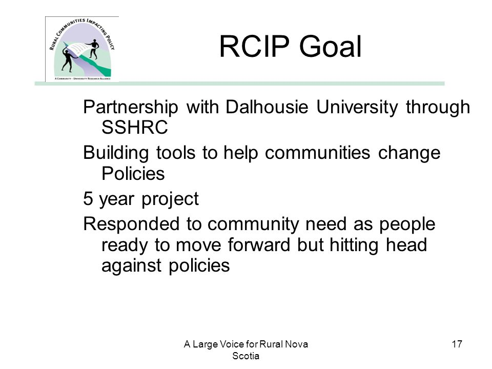 A Large Voice for Rural Nova Scotia 17 RCIP Goal Partnership with Dalhousie University through SSHRC Building tools to help communities change Policie