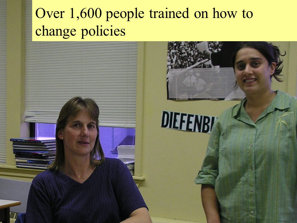 A Large Voice for Rural Nova Scotia 21 Community Training Community Training: Over 1,600 people trained on how to change policies