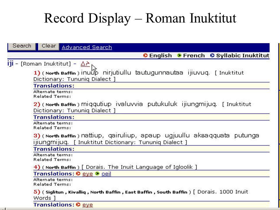 Record Display – Roman Inuktitut