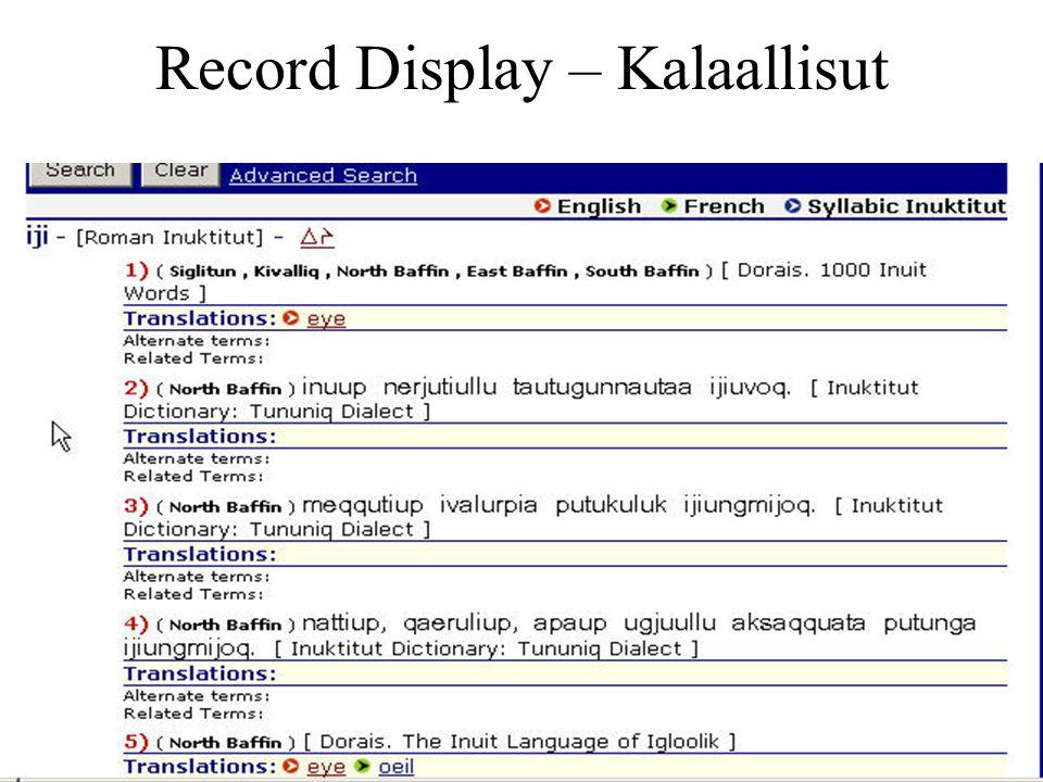 Record Display – Kalaallisut